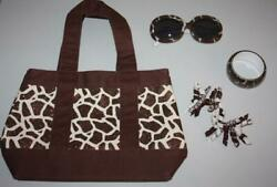 Girls Gymboree Safari Fashion Set Sunglasses Hair Clips Bracelet Tote Lot