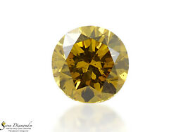 Diamond Natural Color Fancy Deep Brownish Yellow 0.80 Ct Loose Round Cut Gia