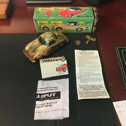 Schuco Gold Micro Racer Porsche 356 1047 Complete W/box Key And Instructions.