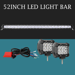 AUTOFEEL 52inch Led Light Bar + 2X 4'' Pods Spot Beam + Remote Control Wire Kits