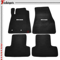 For 05-09 Ford Mustang Floor Mats 2dr Black Nylon Front Rear Carpets W/ Badge