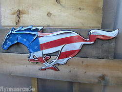 Ford Mustang Pony Horse Red White Blue Metal Display Coo Look Mustang Shelby