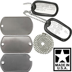 Custom Printed Dog Tags Personalized Military Gi Army Id Dogtags Set Made In Usa