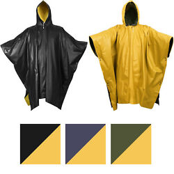 Reversible Waterproof Rain Poncho High Visibility Pvc Thick Outdoor Hood And Snaps