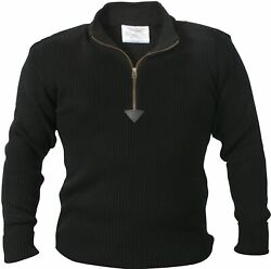 Black Acrylic Commando Military Quarter Zip Sweater with Suede Patches $36.99