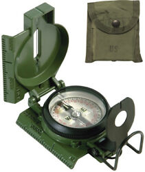 Genuine Gi Us Made Military Tritium Lensatic Compass With Case Olive Drab