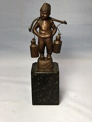 Vintage Bronze Foreign Boy Sculpture Signed On Marble Base A4 8 1/2andrdquo T