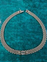 Dandg 9ct Heavy Gold Collar Necklace. 17.5 In Length. 55.3g In Weight, 1cm Width.