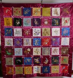 Antique Quilt Embroidered Horses Flowers Fabric Textile Bed Cover, Wall Hanging