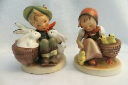 Companion 1950s Hummels Playtime 58/0 And Chick Girl 57/0- Tmk2 - Full Bee