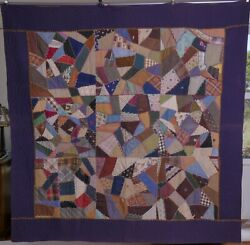 Antique Crazy Quilt, Hand Embroidered, Stitched Pieced Textile, Fabric Vintage