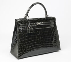 BRAND NEW EXOTIC HERMES KELLY 28cm SHINY GRAPHITE CROC CROCODILE PHW BAG HANDBAG