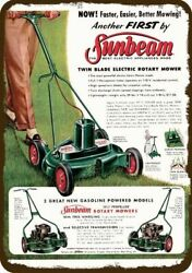 1956 Sunbeam Electric And Gas Powered Lawn Mower Vintage Look Replica Metal Sign