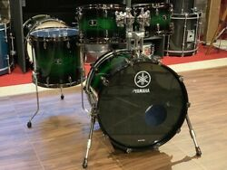 Used Yamaha Live Custom 4pc Drum Set Emerald Shadow Sunburst