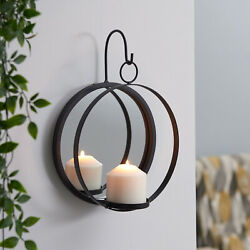 DANYA B Round Iron Sconce Mirrored Pillar Candle Holder Hanging Home Wall Decor