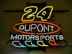New 24 Jeff Gordon Dupont Motor Sports Neon Sign 24x20 Lamp Poster Real Glass