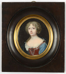 Portrait Of A Young Lady High Quality French Miniature 18th Century
