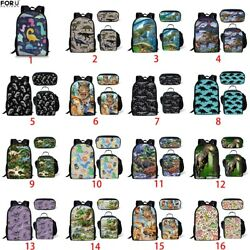 Fierce Dinosaur Boys Girls School Bag Travel Backpack Laptop Pen Lunch Box Gift