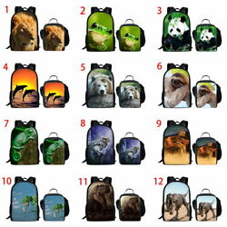 Boys Kids Backpack Set Panda Lion Print Women Laptop School Lunch Bags Rucksack