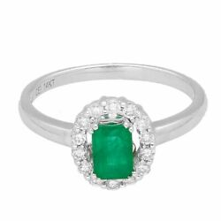 14carat White Gold 0.66ct Emerald And 0.25ct Diamond Halo Cluster Ring Size N1/2