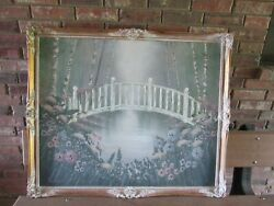 Vintage Frank Ferrante Oil Painting White Arched Bridge and Flowers