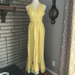 VINTAGE 70s Yellow Halter Dress Gingham Fruit Berries Hippie Boho Maxi Small Sun