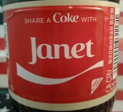 Share A Coke With Janet 2018 Personalized Coca Cola Vanilla Bottle