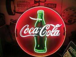 New Coca Cola Neon Light Sign 24x24 Lamp Poster Real Glass Beer Bar