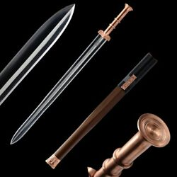 Warring States Battle Sword Folded Pattern Steel Blade Hand Polishing Sharp1126