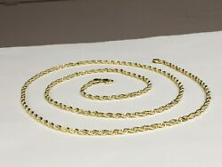 14kt Solid Yellow Gold Diamond Cut Rope Chain Necklace 30 3.5 Mm 23 Grams