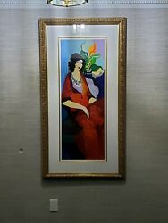 Large Rare Itzchak Tarkay Red Dress Ii Signed Numbered And Framed