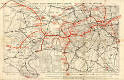 District Railway Miniature Map Of London And Environs. London Underground 1907