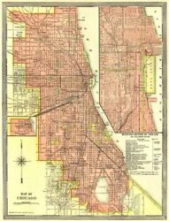 Chicago Town/city Plan. Downtown Loop. Illinois 1907 Old Antique Map Chart