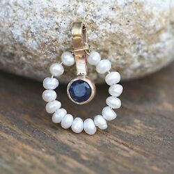 Natural Pearls And Blue Sapphire Pendant Solid 14k Yellow Gold 5th 30th 45th Ann