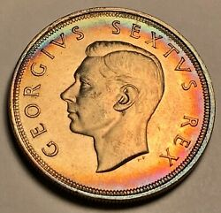 1951 South Africa 5 Shillings Silver Beautiful Rainbow Color Toned Coin 4