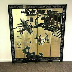 Antique Chinese Coromandel Lacquered And Gold Leaf Folding Screen