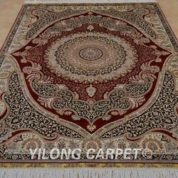Yilong 5and039x7and039 Vintage Silk Hand-woven Rug Medallion Signed Oriental Carpet 1052