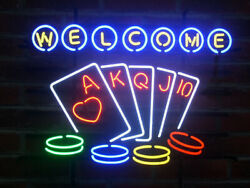 New Welcome To Las Vegas Poker Game Room Neon Light Sign 24x20 Lamp Poster