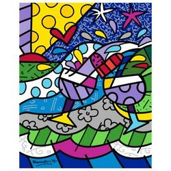 Britto Wine Country Purple Hand Signed Limited Edition Giclee On Canvas Coa