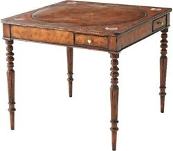 L47765 Theodore Alexander 5205-085 Square Leather Top Walnut Games Table New