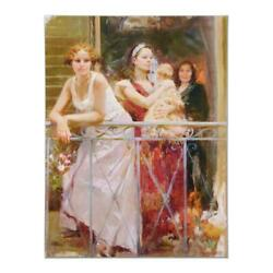Pino Waiting On The Balcony Ap Artist Embellished Limited Edition Canvas