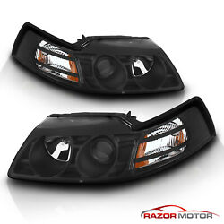 1999 2000 2001 2002 2003 2004 Ford Mustang Black Projector Headlights Pair