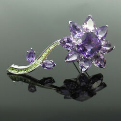 Vintage 55.0ct Amethyst And 3.50ct Peridot 18k White Gold Flower Brooch