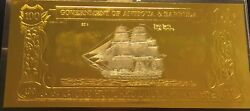 Antigua And Barbuda Gold And Silver Banknote 100 Dollars Black Bart's Fortune 1