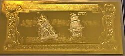 Antigua And Barbuda Gold And Silver Banknote 100 Dollars Cassandra And Fancy
