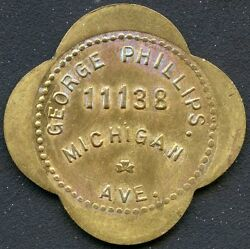 Vintage George Phillips 25 Cent Trade Token 11138 Michigan Ave.