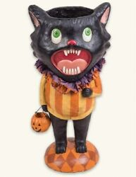 Victorian Trading Co Halloween Screaming Black Cat Paper Mache Candy Container