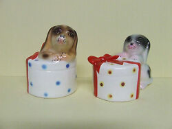 Vintage Puppy Dogs And Hat Boxes W/bows Salt And Pepper Shakers Japan/py
