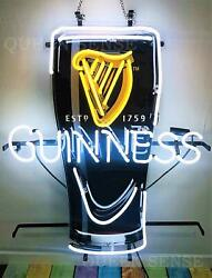 New Guinness Harp Cup Beer On Tap Bar Neon Light Sign 24x20 Artwork Glass
