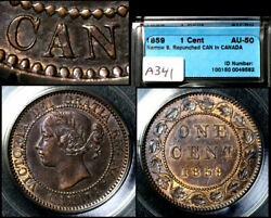 Elite Varieties Canada Large Cent 1859 Repunched 1st A Canada - Au50 A341